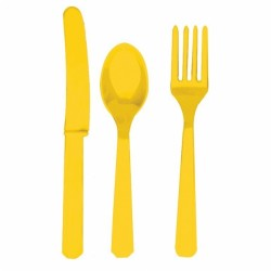 Assortiment couverts jaune plastique