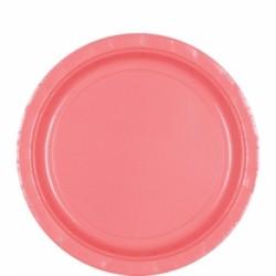 8 assiettes petites carton 17,8 cm rose