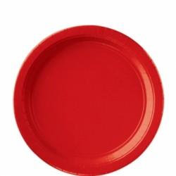 8 assiettes carton 22,9 cm rouge