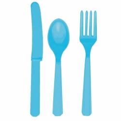 Assortiment couverts turquoise plastique4546-54 AMSCAN TURQUOISE BLEU