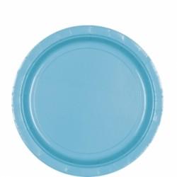 8 assiettes carton turquoise 22,9 cm