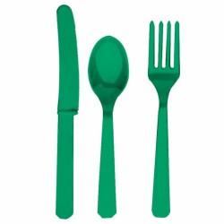 Assortiment couverts vert plastique