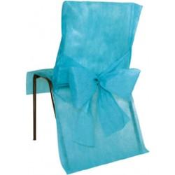 Housse de chaise turquoise avec noeud TURQUOISE BLEU