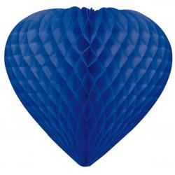 coeurs papier alvéolé 30 cm bleu marine