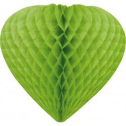 coeurs papier alvéolé 30 cm vert tilleul