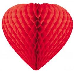coeurs papier alvéolé 30 cm rouge