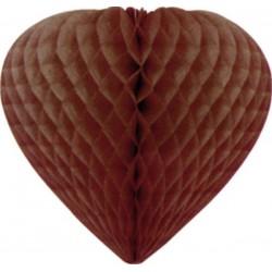 coeurs papier alvéolé 30 cm chocolat