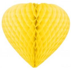 coeurs papier alvéolé 30 cm jaune