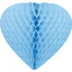 coeurs papier alvéolé 30 cm turquoise