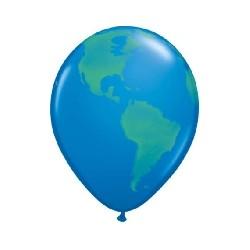 Ballon 28cm bleu mappemonde en poche de 25