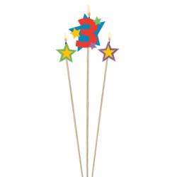 bougie 3 plus étoiles Bougies Pour Fetes Enfants