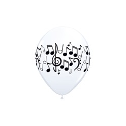 25 ballon 28 cm blanc notes noires
