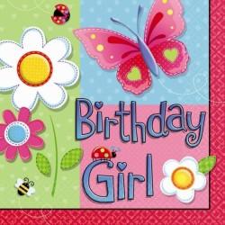 SERVIETTES GARDEN GIRL 33 CM Birthday Girl