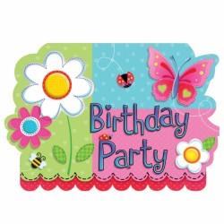 8 invitations garden girl