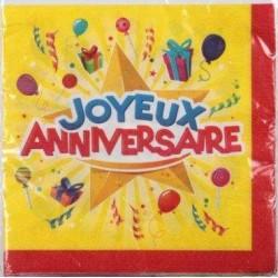 SERVIETTES JOYEUX ANNIVERSAIRE