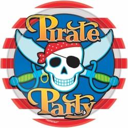 8 assiettes pirate party 22.9cm