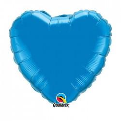 ballon mylar métal coeur bleu