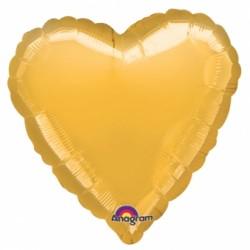 ballon mylar métal coeur or