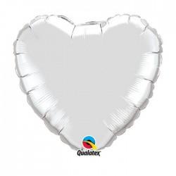 ballon mylar métal coeur argent23138coeurargent18p1 QUALATEX Coeur Ballons Mylar 45 Cm