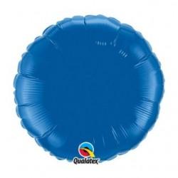 ballon mylar métal rond bleu SAPHIR22632 QUALATEX Rond 45 cm mylar
