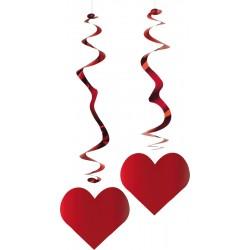 6 suspensions tourbillonnante coeurs rouge