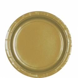 8 assiettes carton 22,9 cm or