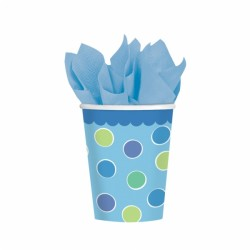 8 gobelets carton à points bleu 266ml