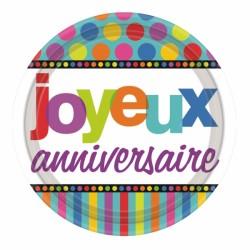 ASSIETTES JOYEUX ANNIVERSAIRE DOTS 22.8 CM
