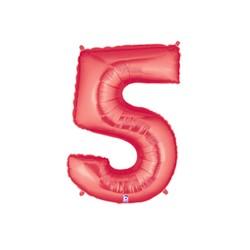 5 ROUGE Chiffre métal mylar 5