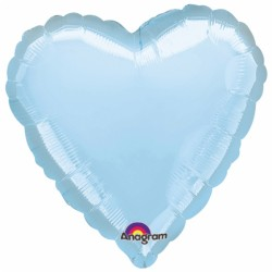Coeur pearl bleu mylar 88 cm d'envergure à plat AMSCAN Coeurs 90 cm