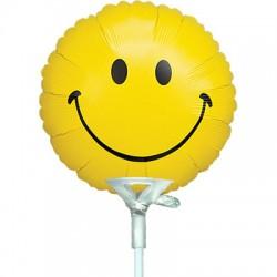 smile jaune 10 cm non gonflé QUALATEX 10 Cm Ø Micro Rond (Air)