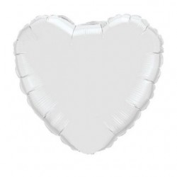 coeur blanc mylar 23 cm vendu non gonflé 24111 QUALATEX Cœurs Mylar 23 cm (Air)