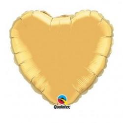 ballon mylar coeur or 23 cm non gonflé
