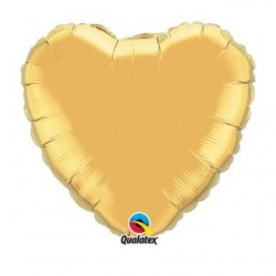 ballon mylar coeur or 23 cm non gonflé 36334 QUALATEX Cœurs Mylar 23 cm (Air)