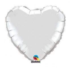 ballon mylar coeur argent 23 cm non gonflé