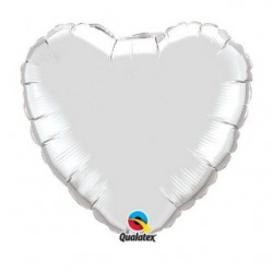 ballon mylar coeur argent 23 cm non gonflé 22464 QUALATEX Cœurs Mylar 23 cm (Air)