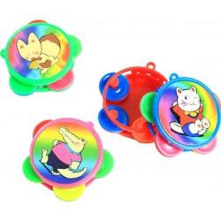 4 tambourins plastique 4.5cm