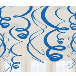 12 suspensions tourbillonnantes bleu royal 55.8 cm