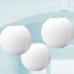 3 lanternes boule 24 cm blanche