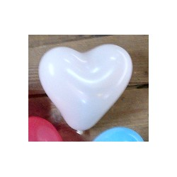 100 ballons coeur blanc 12 cm de diamètre BWS Coeurs Gamme Eco
