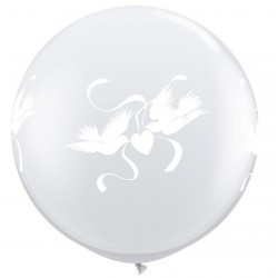 ballons 80 cm colombes transparent
