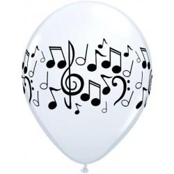 ballon 28 cm blanc avec notes de musique noires