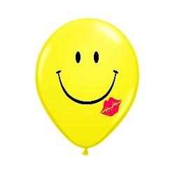 Ballons latex 40 cm smiley avec bisou lèvre rouge en poche de 2