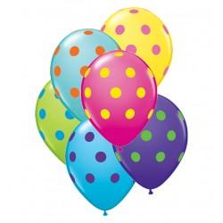 50 ballons à gros point 28 cm diamètre MELANGE TROPICAL