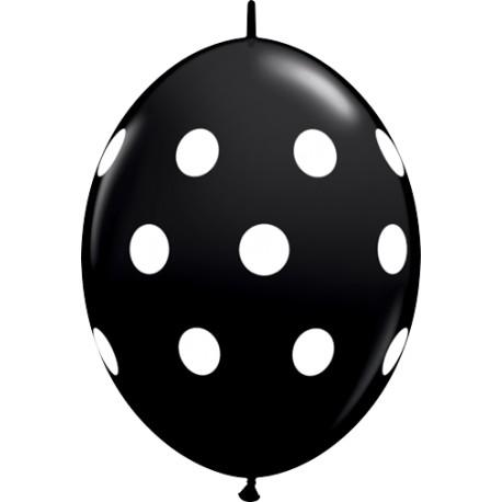 12 BALLONS 30 CM DOUBLE ATTACHE QUALATEX NOIR