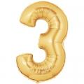 3 OR Chiffre métal mylar 3