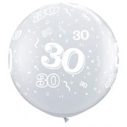 30 cristal transparent 90 cm Ø qualatex Chiffres De 18 A 100 Ballons Imprimes
