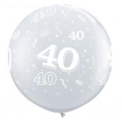 40 CRISTAL TRANSPARENT 90 cm Ø Qualatex Chiffres De 18 A 100 Ballons Imprimes