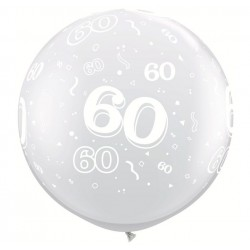 2 ballons 60 transparent 90cm Ø qualatex QUALATEX Chiffres De 18 A 100 Ballons Imprimes