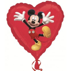 ballon alu mickey coeur rouge 45 cm Mickey Et Minnie